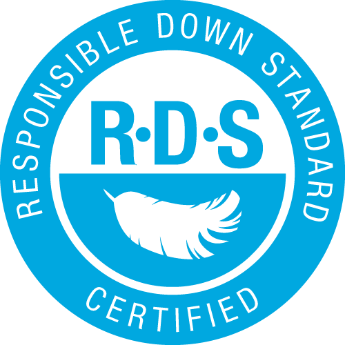 Responsible Down Standard – ensures that down and feathers were not plucked from live animals. Any removal of down and feathers from live birds (live-plucking or molt-harvesting) is prohibited. Force-feeding is prohibited. Holistic respect for animal welfare of the birds from hatching to slaughter. RDS down and feathers is properly identified; to ensures that non-RDS down and feathers are not mistakenly identified as RDS. Each stage in supply chain is audited by a professional, third party certification body. Only products with 100% certified down and feathers carry the RDS logo.