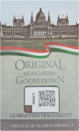 The original Hungarian Goose Down label guarantees that the product is of Hungarian origin. The certification is performed by the Hungarian Chamber of Commerce and Industry (MKIK). The label also contains an anti-forgery data storage chip, which contains further product information